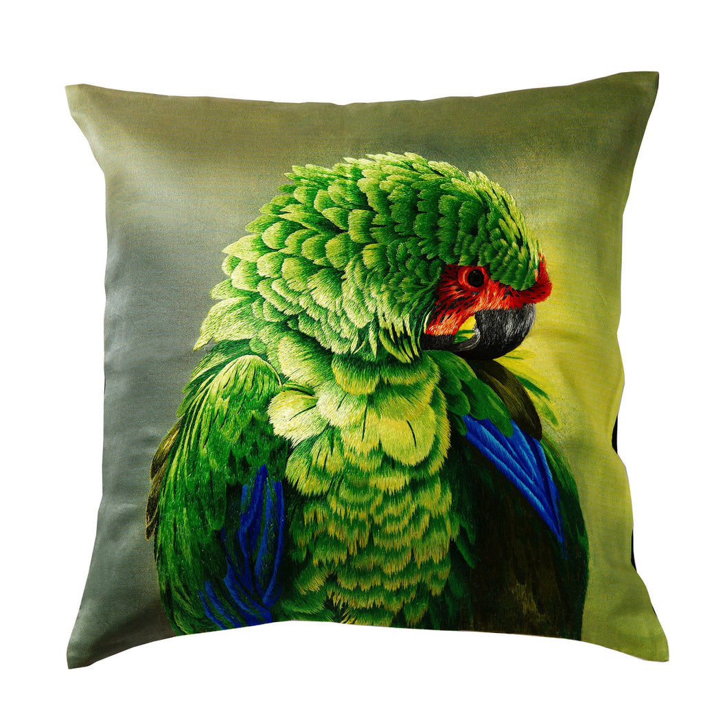 Silk Embroidered Parrot Cushion