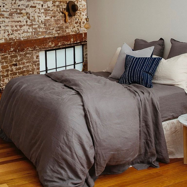 Pure Linen Pre Washed Quilt Cover – Smoke