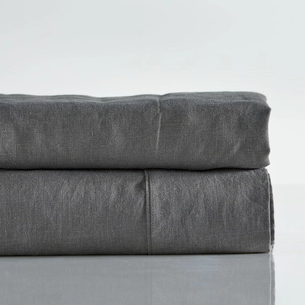 Pure Linen Pre Washed Sheet Set – Smoke