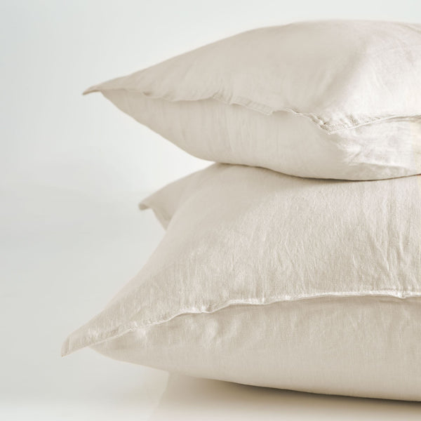 Pure Linen Standard Pillow Case Pair - Sand