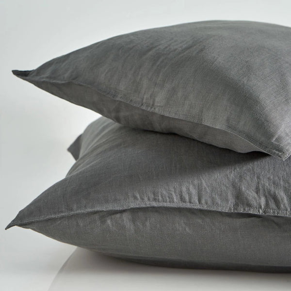 Pure Linen Standard Pillow Case Pair - Smoke
