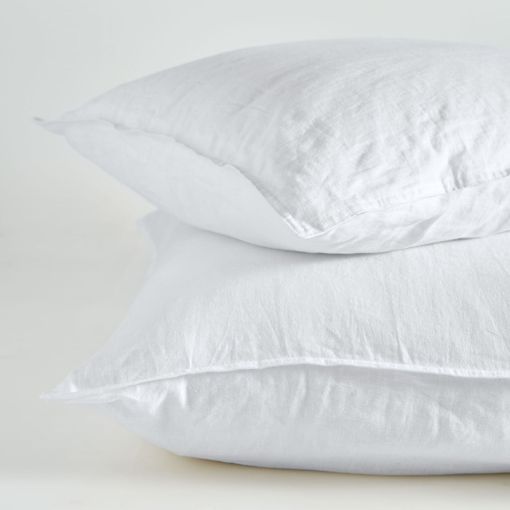 Pure Linen Standard Pillow Case Pair – White