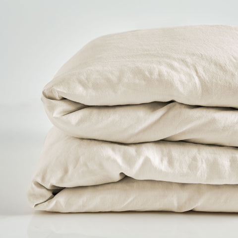 Pure Linen Pre Washed Quilt Cover – Sand