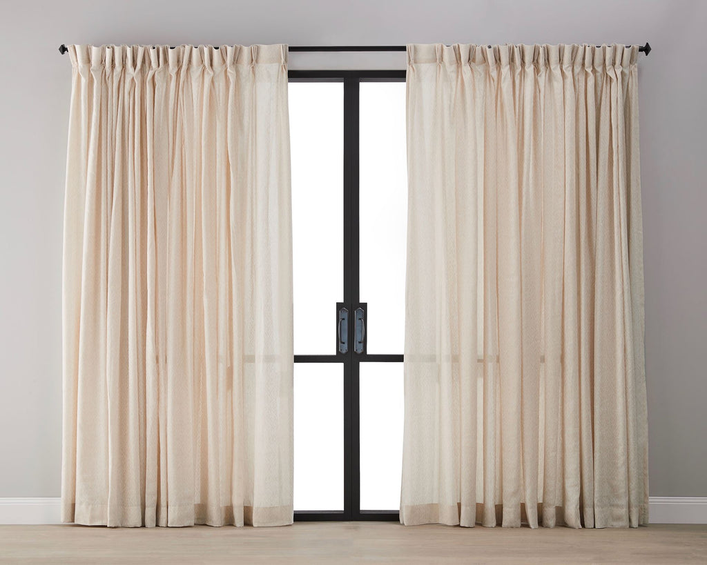Diamond Pattern Linen Sheer Curtain - Tan