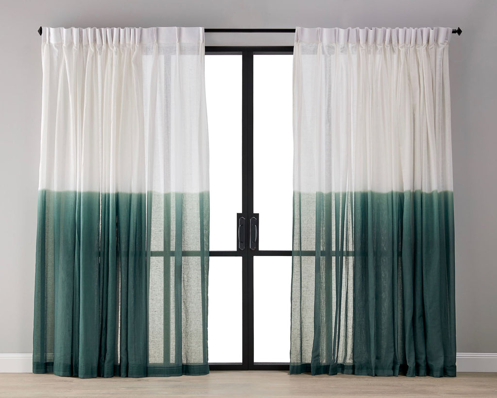 Dip Dyed Sheer Curtain - Malachite