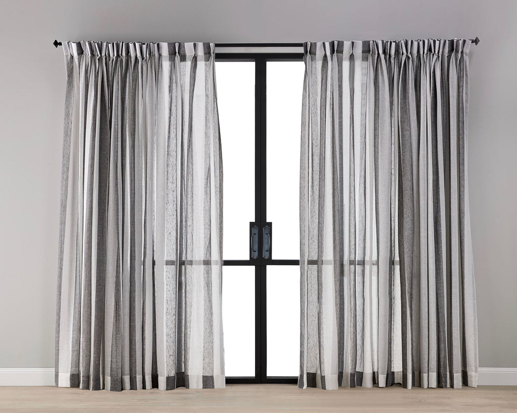 Grey White Stripe Sheer Curtain