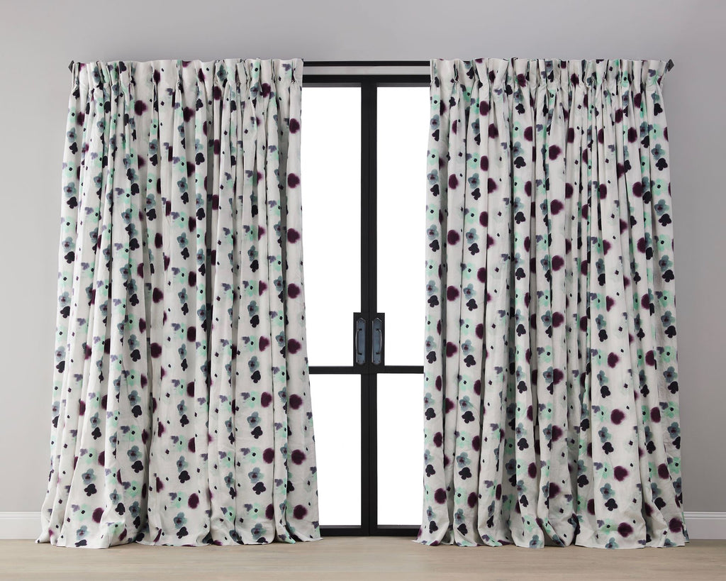 Melt  Blossom Linen Blockout Curtain - Rod Pocket Heading