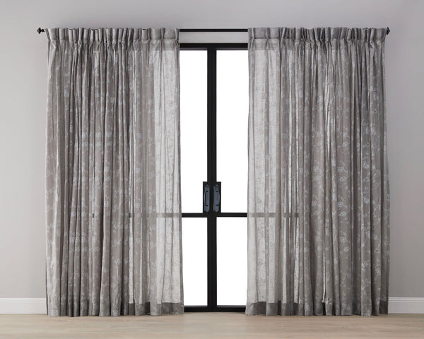 Plum Blossom Sheer Curtain - Mocha