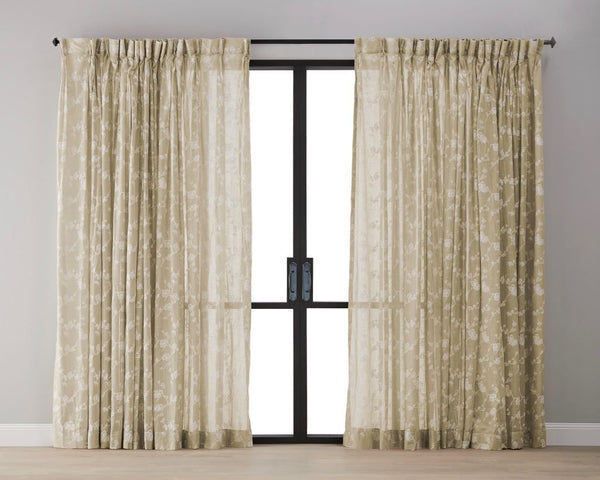 Plum Blossom Sheer Curtain - Mustard