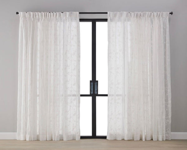 Plum Blossom Sheer Curtain - Snow