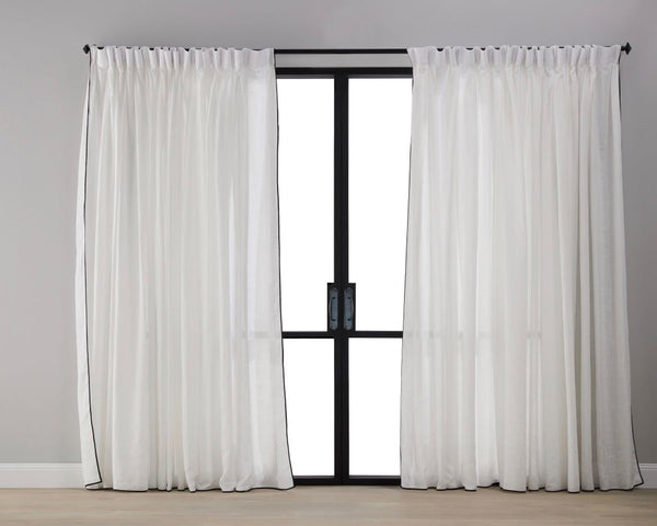 Classic White with Black Trim Sheer Curtain