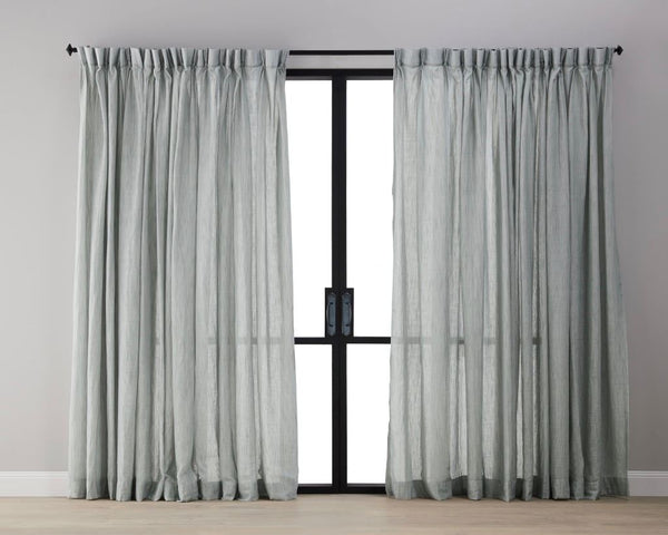 Textured Linen Sheer Curtain - Blue Grey