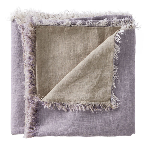 Linen Fringe Double Side Throw -Lavender