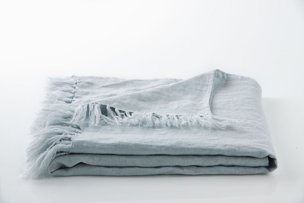 Linen Fringe Throw - Icy Blue