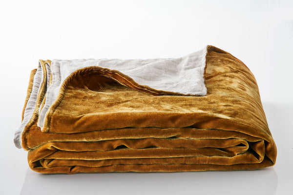 Silk Velvet Throw - Gold