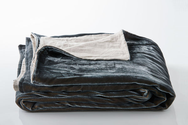 Silk Velvet Throw - Petrol