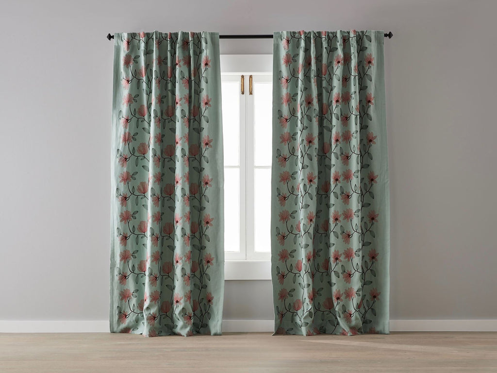 Floral on Spearmint Linen Blockout Curtain