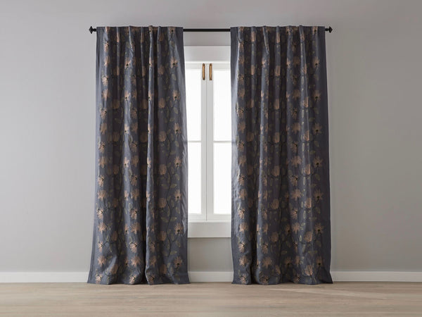 Floral on Slate Linen Blockout Curtain