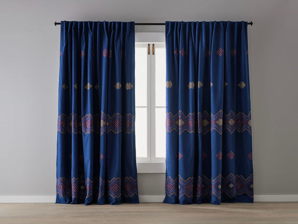 Blue Boheme Embroidered Blockout Curtain