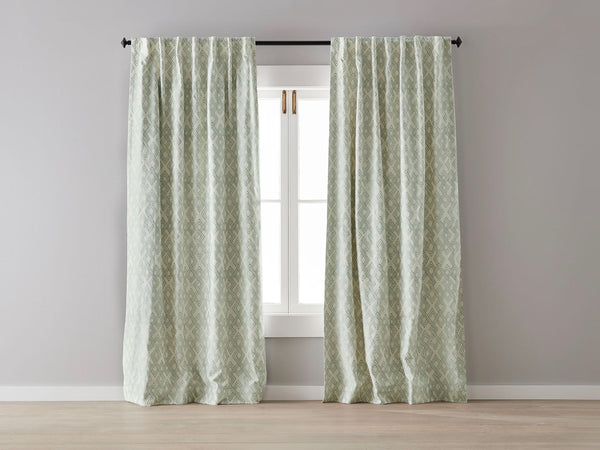 Sage Green Geo Linen Blockout Curtain