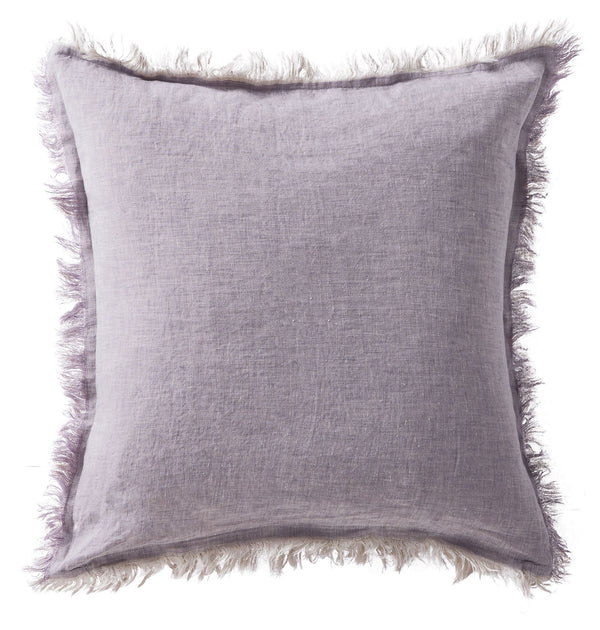 Linen Fringe Double Side Cushion - Lavender