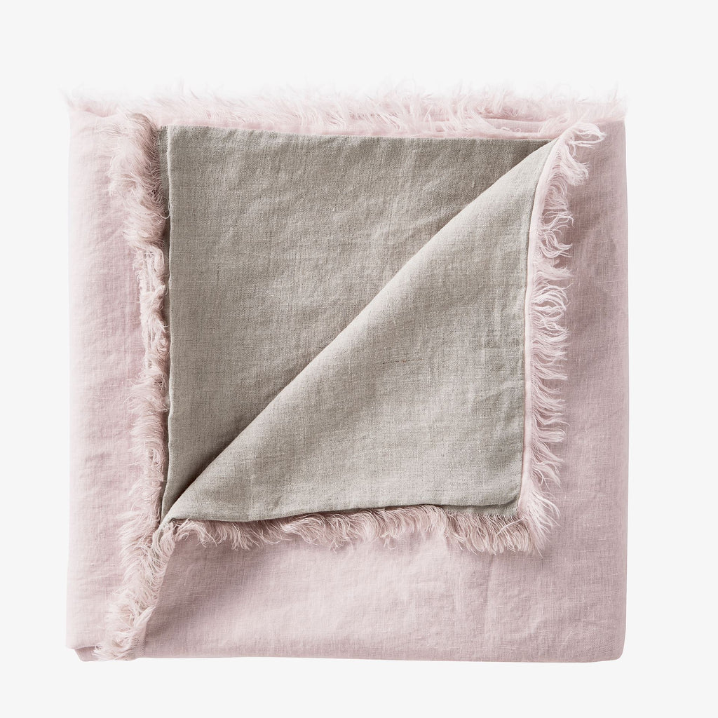 Linen Fringe Double Side Throw - Blush