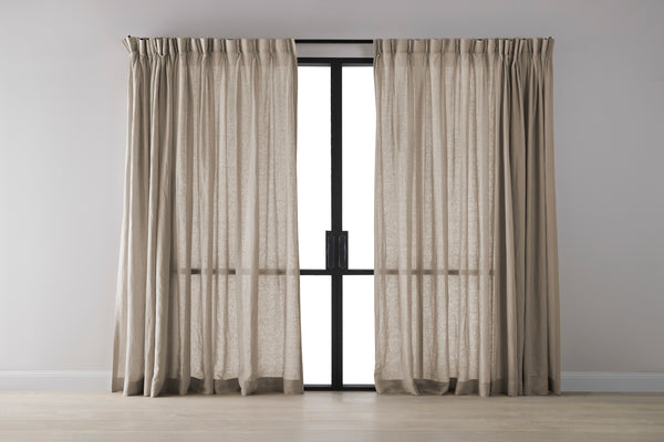 Shoal Bay Sand Pure Linen Curtain - Triple Pinch Pleat