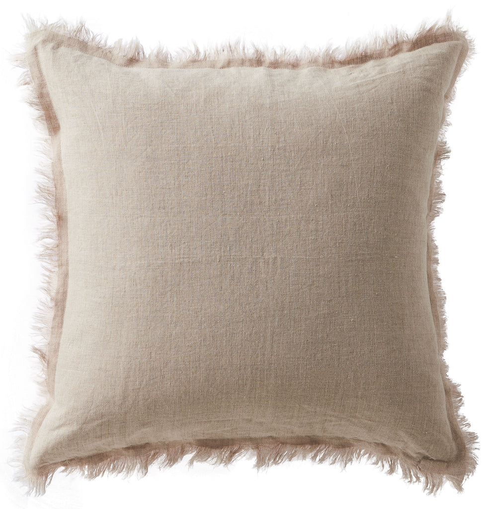 Linen Fringe Double Side Cushion - Blush