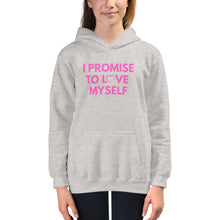 "Load image into Gallery viewer, Kids ""I PROMISE TO LOVE MYSELF"" PINK LETTERING Hoodie"
