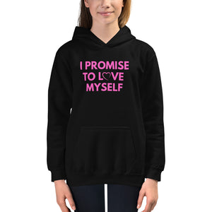 "Kids ""I PROMISE TO LOVE MYSELF"" PINK LETTERING Hoodie"