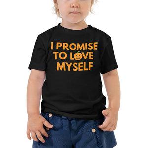 "Limited Edition, ""I Promise to Love Myself"" Pumpkin Toddler Short Sleeve Tee"