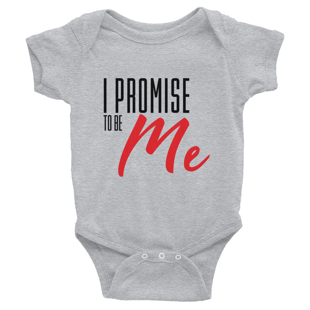Infant I PROMISE TO BE ME Black & Red Lettering Bodysuit
