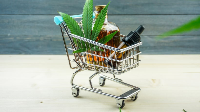 CBD Products in the shopping trolley