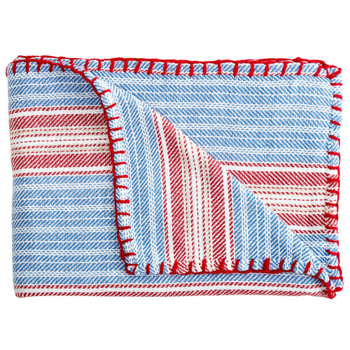 Wincanton Stripe Blanket Stitch Throw