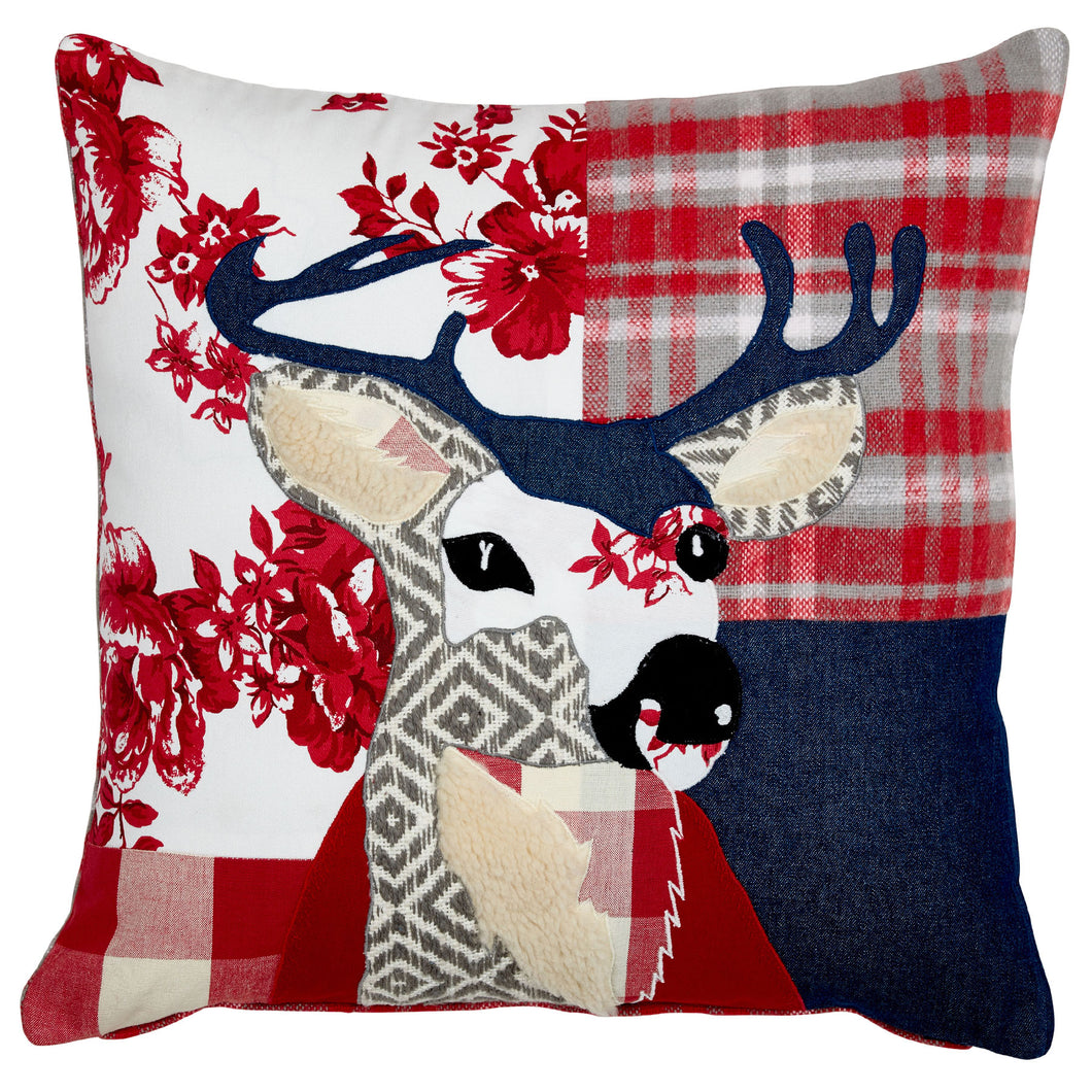 Patchwork Red Stag Cushion