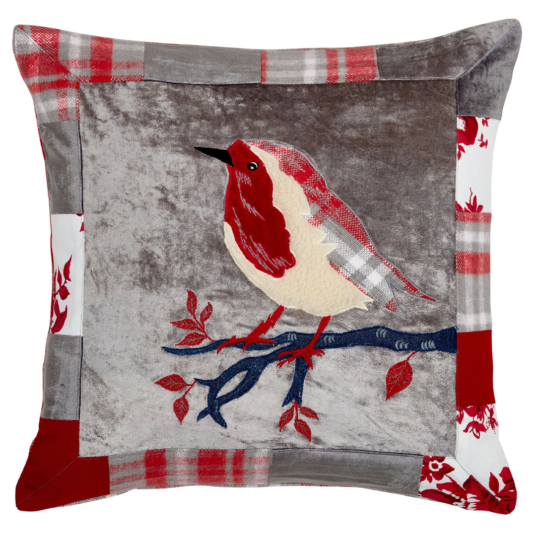 Patchwork Red Robin Cushion