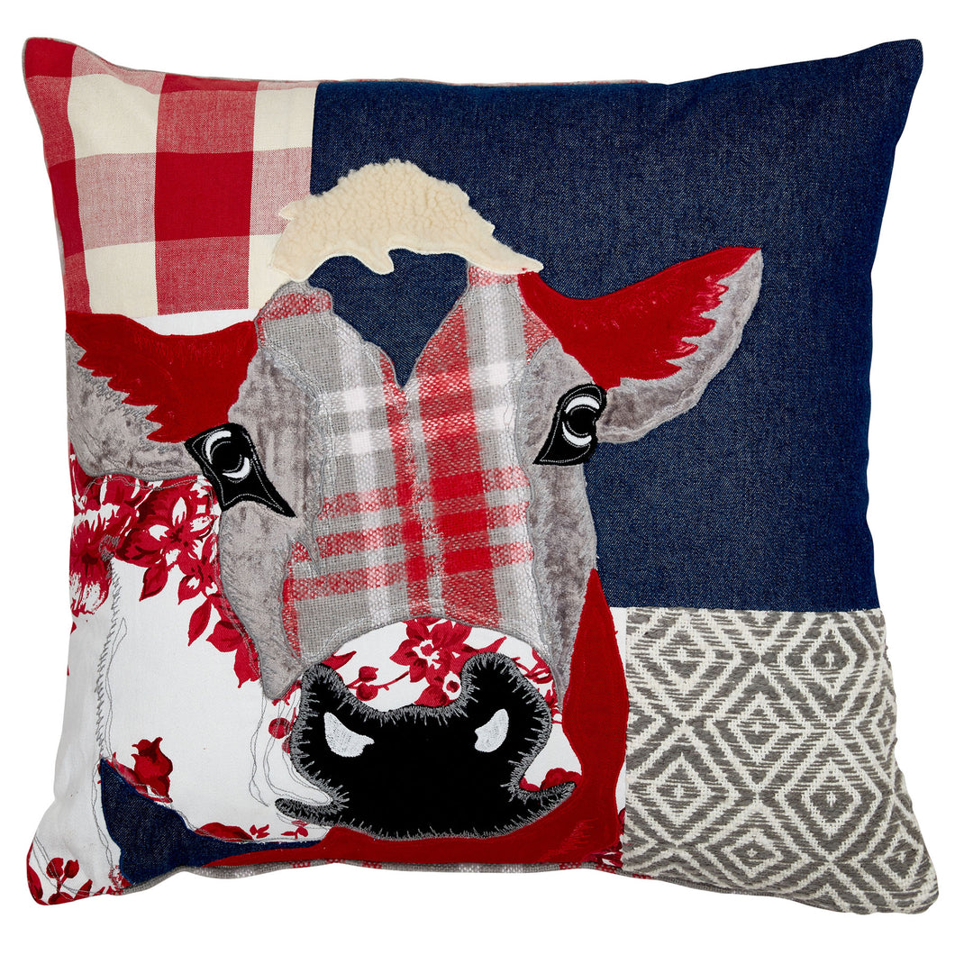 Patchwork Red Cow Cushion