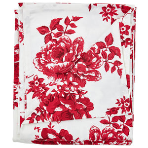 Vintage Rose Red Cotton Tablecloth