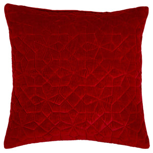 Geo Velvet Red Cushion