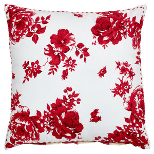 Vintage Rose Red Floral & Check Cushion