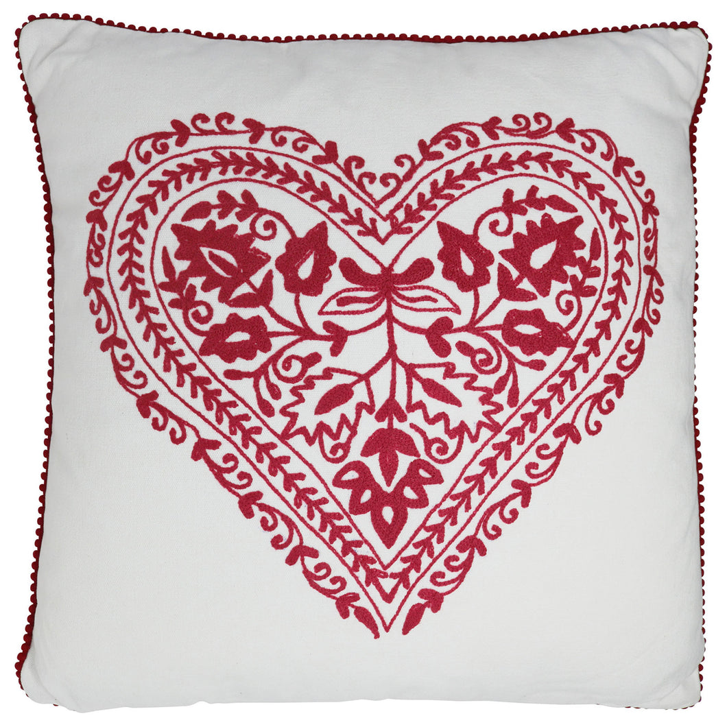 Vintage Rose Red Heart Cushion