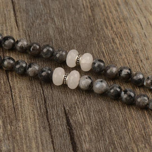 Labradorite and Jade Mala