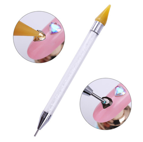 1 Pc Dual-ended Dotting Pen Rhinestone Studs Picker Wax Pencil Crystal Beads Handle Nail Art Tool