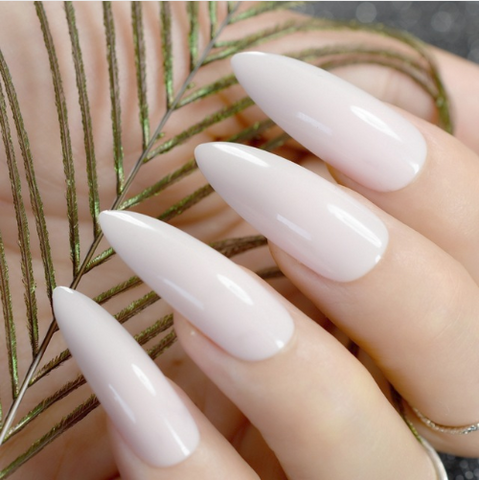 Extra long Stiletto White Fake Nails
