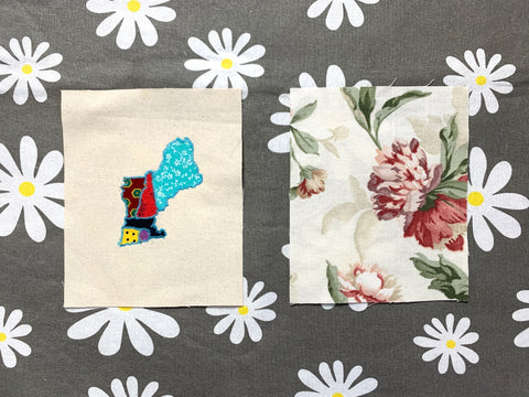 photo of 2 pieces of fabric one is fabric scrap map applique