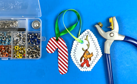 grommet kit and ribbons and zig zag stitches