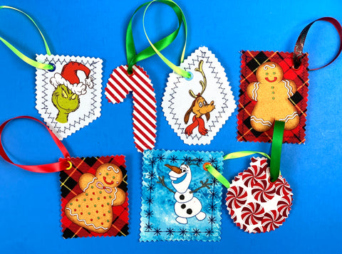 gift tags, grinch, gingerbread men, frozen Olaf