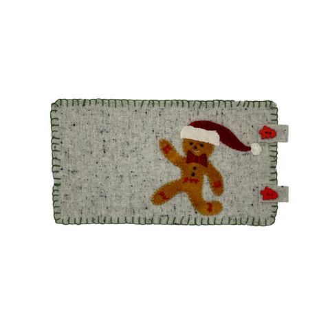 Gingerbread person in santa hat on mug rug wool applique embroidery kit