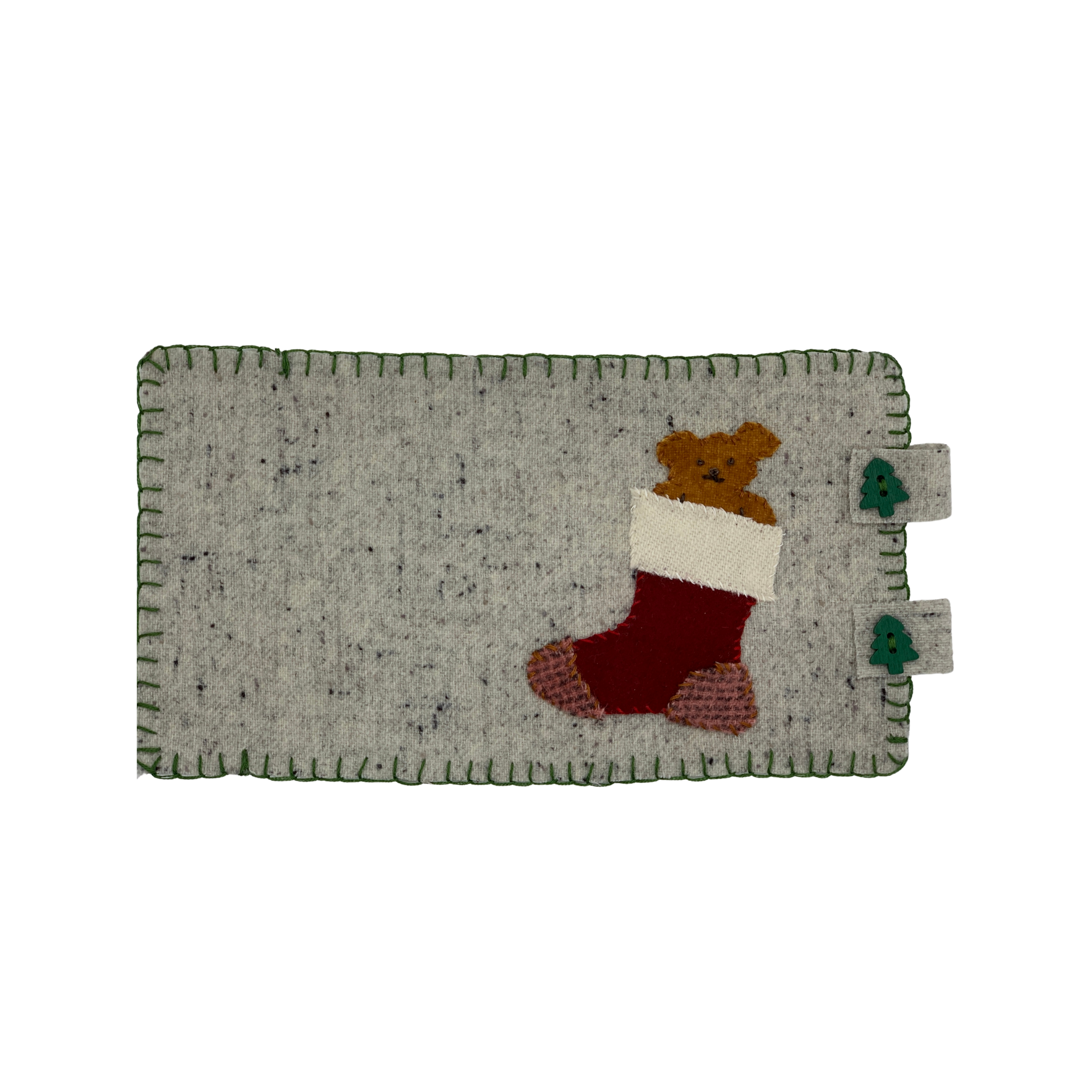 Mug rug with wool applique with koala bear coming out of christmas stocking.