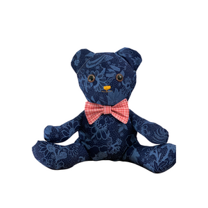 Blue fabric stuffed bear with bow tie sewing kit.
